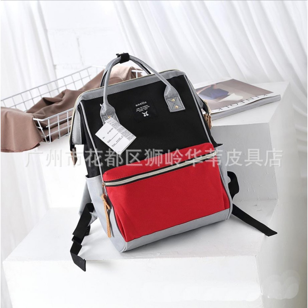 Японский рюкзак-сумка Anello Big черно-красно-серый (black-red-grey)