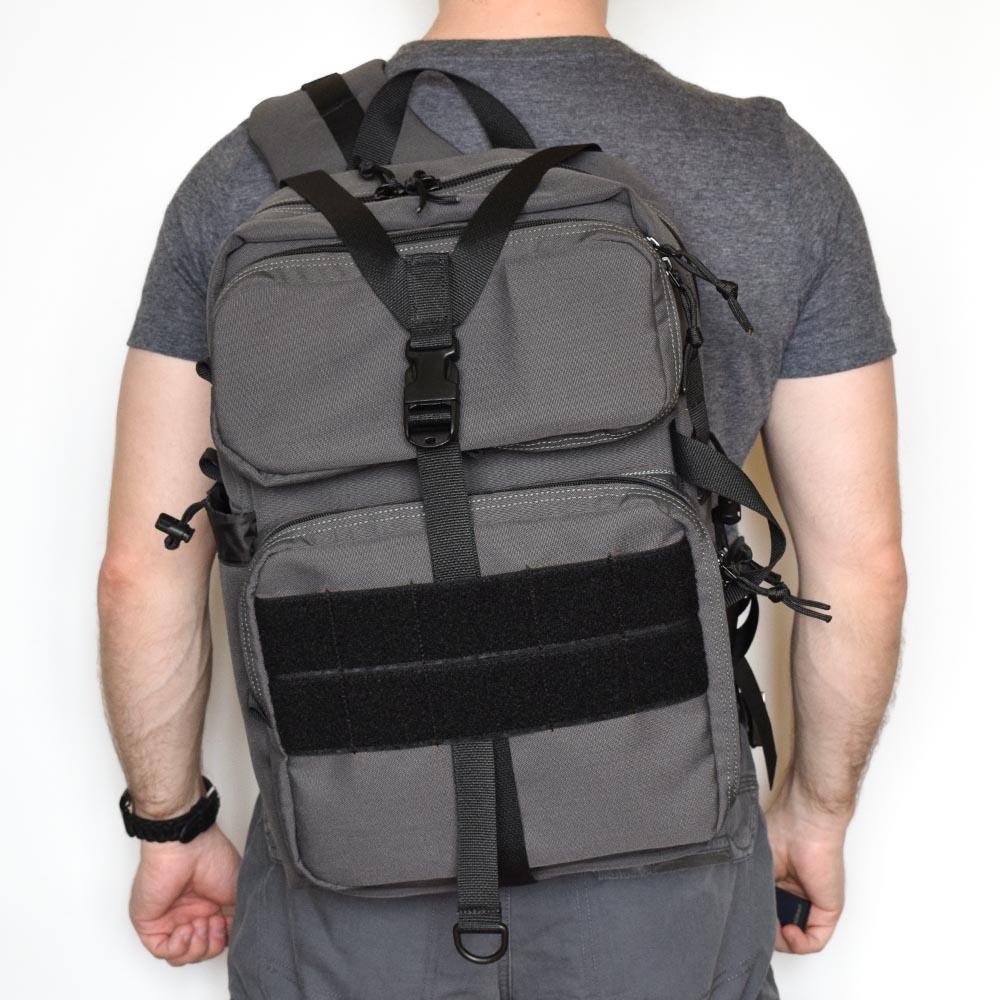 "Однолямочный рюкзак SUPER-RUKZAKI ""Алерт (Alert) темно-серый"