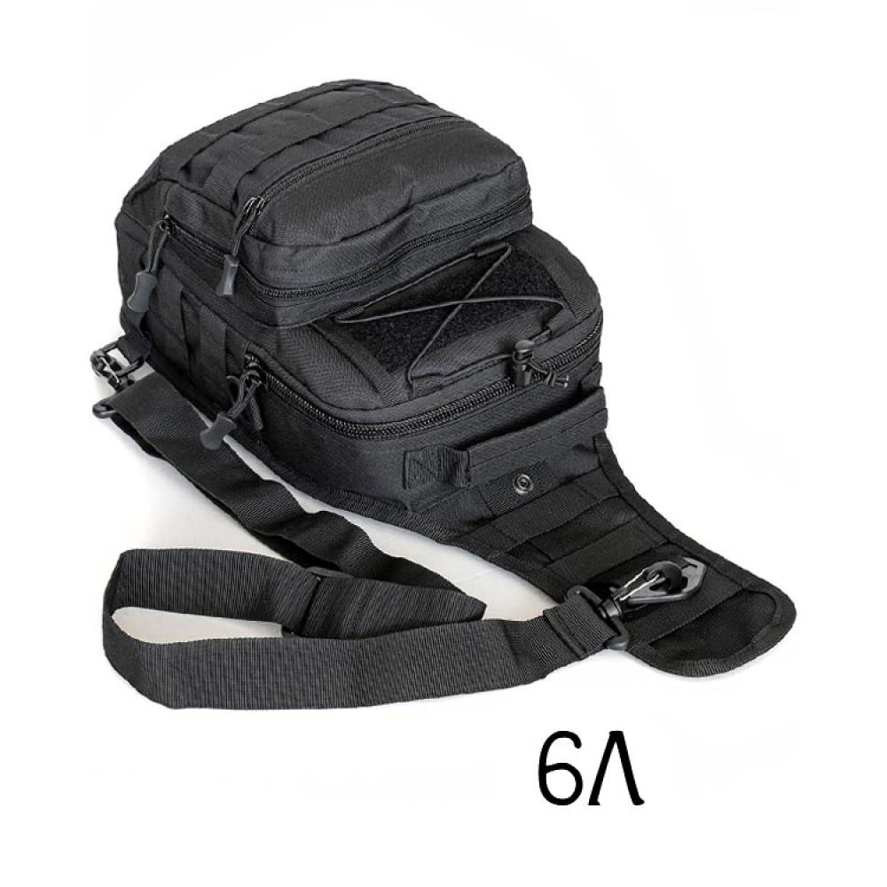Однолямочный тактический мини рюкзак-сумка черный
